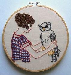 A Girl And Her Owl  Embroidery Pattern PDF by nodiggitynodoubt, $5.00