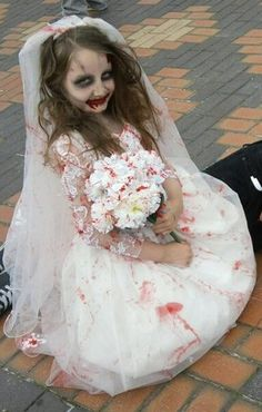 CHILDS girls halloween ZOMBIE bride dress costume by ZombieBrideuk
