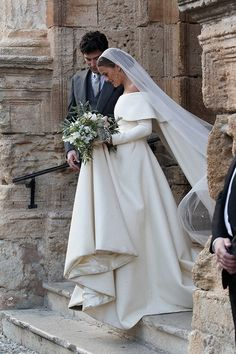 Lady Charlotte Wellesley in an Off-the-Shoulder Emilia Wickstead Wedding Dress