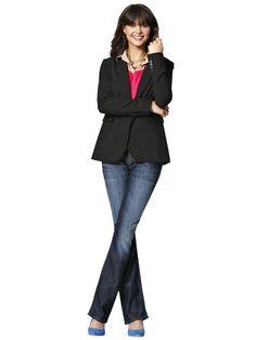 Dress things up with a simple jacket on Day 16        Tunic: Forever 21, $19.80; forever21.com.  Sweater: Loft, $44.50; loft.com.  Blazer: Victoria's Secret Catalogue, $128; victoriassecret.com.  Jeans: Mavi, $98; amazon.com.  Necklace: C. Wonder, $98; cwonder.com.  Heels: H, $24.95; hm.com for store locations.