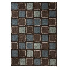 Blue and brown checkerboard shag area rug. I've loved this for a year, and I'm determined to get it at some point...