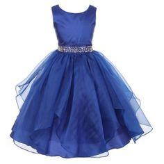Little Girls Royal Blue Dazzling Stones Taffeta Organza Cascade Party Dress 4, Girl's