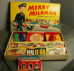 VINTAGE MERRY MILKMAN EXCITING GAME & TOY - CA 1950'S - vh