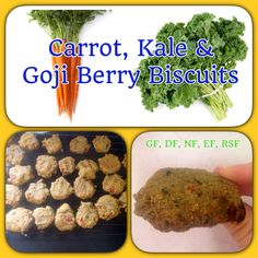 Carrot, Kale & Goji Berry Biscuits - packed with goodness - GF, DF, EF, RSF, NF