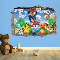 pokmon go 3d wall breakout sticker pokemon vinyl wallsticker