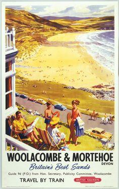 'Woolacombe & Mortenhoe', 1960.Artwork by Harry Riley.