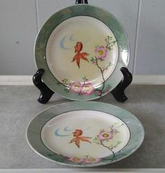 Gray Green Porcelain Plates Vintage Decorative Plate Set Mid Century Asian Style Lusterware Collectible Plates Set of Two(2) Small Plates & Vintage W.S. George