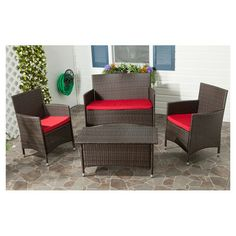 4-Piece Mojave Patio Set with pretty red cushions.