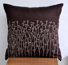 Beige Grass Floral Throw Pillow Cover 18 x 18 от KainKain на Etsy