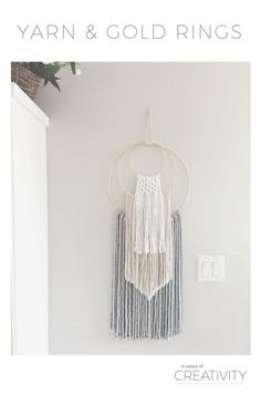 Looking for a modern yet glamorous piece of wall art? Check out this easy DIY with yarn and gold hoops, that can be customized for the look of your home.