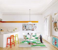 How about painting those bar stools a couple of cheerful colors...