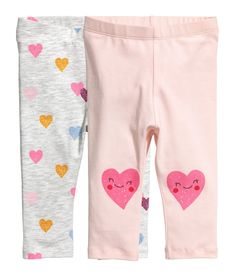 2-pack Leggings | Pink/hearts | Kids | H&M US