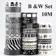 10m 1x Black and White Adhesive Tape Japanese Washi Tape Decorative Scotch Tape DIY Scrapbook Paper Photo Album Masking Tape Set-in Office Adhesive Tape from Office & School Supplies on Aliexpress.com | Alibaba Group