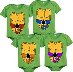 Ninja Turtle Onesies. If I was to ever had quadruplets I'm naming them Raphael, Leonardo, Michelangelo, and Dontello. :D