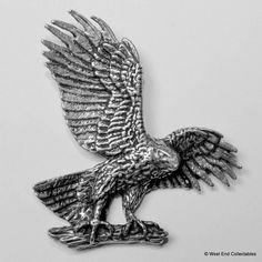 Flügel Verbreitung Adler Zinn Brosche britisch Hand gefertigt- Falknerei Golden