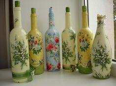 bv Beer Bottle Crafts, Wine Bottle Art, Plastic Bottle Crafts, Diy Bottle, Recycled Jars, Glass Painting Designs, Decoupage Glass, Flower Bottle, Diy And Crafts Sewing