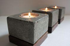 Concrete Candle Holders, Wooden Candle Holders, Concrete Light, Concrete Wood, Cement Art, Concrete Crafts, Luminaria Diy, Boutique Deco, Concrete Furniture