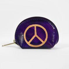 Petit porte monnaie en cuir violet Peace & Love