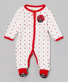White & Red Polka Dot Ladybug Footie - Infant by Watch Me Grow #zulily #zulilyfinds