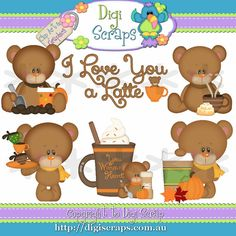 Marshmallow Bear loves Latte - Coffee Clip Art Set - Clipart scrapbooking set