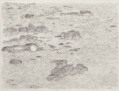 Shuvinai Ashoona, Landscape with Grass, 1996, Fineliner pen on ivory wove paper, 25.5 x 33.2 cm, National Gallery of Canada, Ottawa. #ArtCanInstitute #CanadianArt Fineliner Pens, Canadian Art, Detailed Drawings, Surrealism, Book Art, Canada, Ottawa, Gallery, Artist