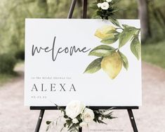 Lemon Bridal Shower Welcome Sign Template Greenery Wedding | Etsy