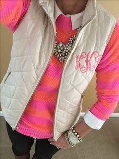 Fashion Over 40:  Gap sweater, monogram vest via etsy, j crew necklace