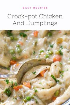 Crock-pot Chicken And Dumplings – Best Recipes Quick Lunch Recipes, Easy Dinner Recipes, Healthy Dinner Recipes, Dinner Ideas, Healthy Snacks, Easy Meals, Slow Cooker Recipes, Meat Recipes, Yummy Recipes