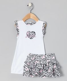 Look at this #zulilyfind! White Zebra 'Love' Romper & Skirt - Infant by Rumble Tumble #zulilyfinds