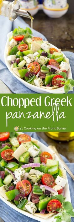 You will love this super fresh and tasty Chopped Greek Panzanella Salad recipe!  Make a double batch!