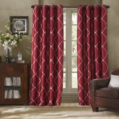 Buy Bombayâu201e¢ Garrison 95 Inch Grommet Window Curtain Panel In Burgundy  From Bed