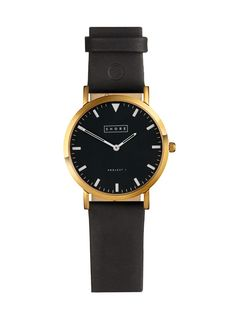 St Ives Watch With Black Leather Strap