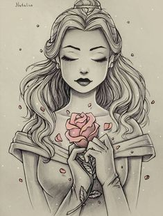 This is Beautiful ! Sketched picture of Disney Princess Belle, with only the ros. This is Beautiful ! Sketched picture of Disney Princess Belle, with only the rose in color. Disney Princess Belle, Disney Princess Tattoo, Tattoo Disney, Tattooed Disney Princesses, Disney Tattoos Unique, Punk Princess, Princess Jasmine, Disney Fan Art, Disney Style