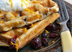 cranberry, orange & walnut buttermilk ricotta waffles