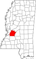 Map of Mississippi highlighting Hinds County - where my now widowed (as of 6 Jun 1824) 4th GGM, Lucretia (Bradley) Parker was living in 1830.  (1830 Census)