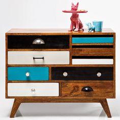 Jasmine Multi Coloured Sideboard - from Cult Furniture UK Interior Design Business, Top Interior Designers, White Bedroom Furniture, Cool Furniture, 9 Drawer Dresser, Sideboard Cabinet, Komodo, Kare Design, Retro Design