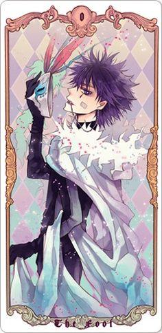 "TAROT CARDS VER. MAFIA ( KATEKYO HITMAN REBORN ) annediryzza: "" 0 - The Fool ( Skull - Cloud Arcobaleno ) 1 - The Magician ( Hayato Gokudera - Vongola's Storm Guardian ) 2 - The High Priestess (..."