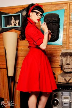 Deadly Dames Haunted Housewife Dress in Red with Black Trim