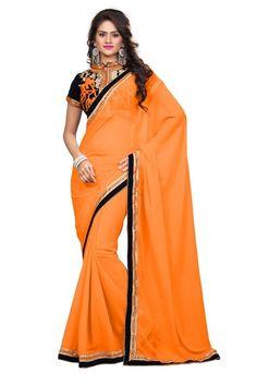 orange and silver saree - Google Search