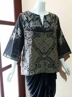 my project: batik tunic made from handmade batik combination on monocrome Blouse Batik, Batik Dress, Muslim Fashion, Hijab Fashion, Fashion Outfits, African Print Dresses, African Dress, Traditional Fashion, Traditional Outfits
