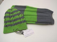 Cappellino e sciarpa uomo in 100% lana  realizzato  con ferri n.4.5