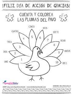 Thanksgiving in Spanish resources, and activities for teachers. Get all the ideas you need here for your Thansgiving weeks plans in Spanish class. Spanish Lessons For Kids, Preschool Spanish, Elementary Spanish, Spanish Activities, Vocabulary Activities, French Lessons, Thanksgiving Coloring Sheets, Thanksgiving Worksheets, Thanksgiving Preschool