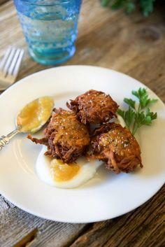 Potato Latkes with Pineapple Sauce and Greek Yogurt. www.keviniscooking.com
