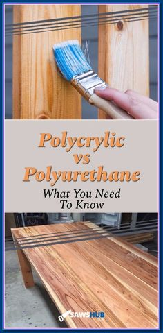 Learn when to use Polycrylic vs Polyurethane for your next DIY woodworking project. Both a great finishers, but each have different holding power and safety concerns. Cool Woodworking Projects, Router Woodworking, Learn Woodworking, Woodworking Books, Woodworking Projects Diy, Popular Woodworking, Woodworking Furniture, Diy Wood Projects, Outdoor Projects