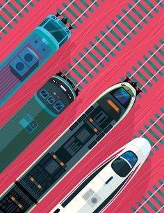 Peter Greenwood - Evolution of Trains Train Illustration, Flat Design Illustration, Simple Illustration, Map Design, Graphic Design, Train Posters, Subway Map, Poster Ads, Typography