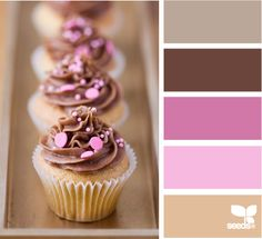 cupcake tones - love this palette! Great for a spring, summer wedding and I don't think it's too girly!