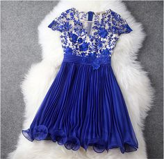 Embroidered Lace Dress in Blue #blue-dress #bridemaid-dress #classy-dress #dress #embroidered-dress #graduation-dress #lace-dress #party-dress #wedding-dress