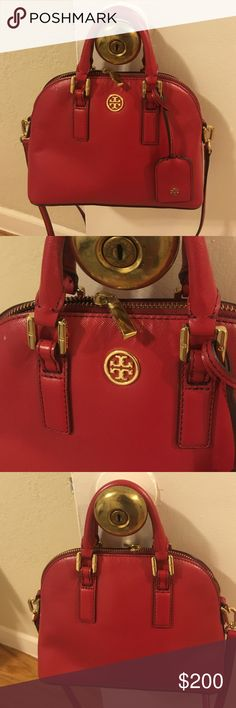 Tory Burch Robinson mini dome red bag Good condition. Just cleaning out my closet. Tory Burch Bags