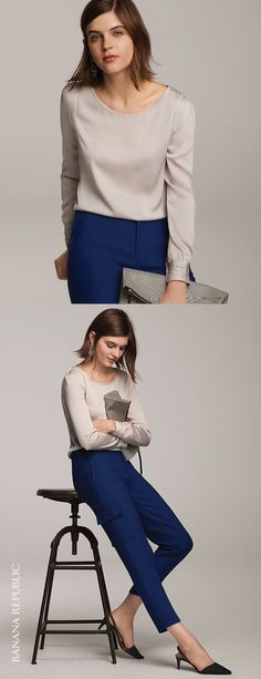 The perfect blouse can make any outfit chic. Pair our pleated cuff detail top with season right blue cropped trousers and kitten heels for a chic office ready look | Banana Republic