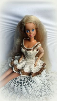 Crochet Barbie Clothes Dress - Beige Sleeveless Above Knee Barbie Dress with Ruffled Skirt, Handmade Barbie Sundress